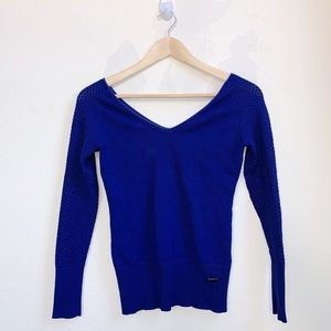 Tops - Fitted Blue Off The Shoulder Top
